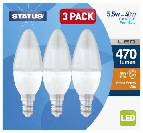 LED Candle Lightbulb 3-Pack 5.5W SES Warm White (470 lumens) 191159